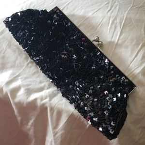 Nicole Lee black sequin clutch